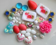 Vintage Destash Lot, Beads Flowers Shabby Floral Cabochons Chic Destash #1642