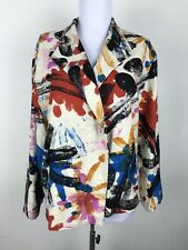 Dilemma Dhun Shroff Blazer Silk Floral Splatter Print Purple Blue Red 3/4 Slv XL