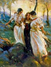 Ladies Walking up the Hill, Quality Hand Painted Oil Painting 30x40in