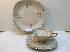 Mitterteich Bavaria Germany 3 PC Teacup, Saucer & Plate Beige/Pink/Gold Tone