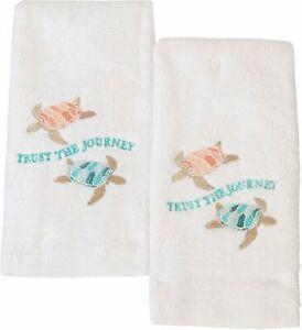 ATI 2-pc. Trust The Journey Fingertip Towel Set 2 Pc Set White/blue/orange