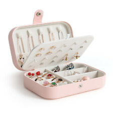 Travel Jewelry Box Organizer Earring Ring Display Ornaments Case Vintage Pink