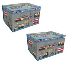 2 x Children's Jumbo Storage Box Folding Storage Chest Kids Room Toy Box Travel