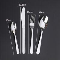 24 X Kitchen Stainless Steel Tableware Hard-wearing Dining Kit Cutlery Set UK
