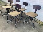 Vintage Industrial Metal Drafting Shop Chair Stool Adjustable Mid-Century 6 Av