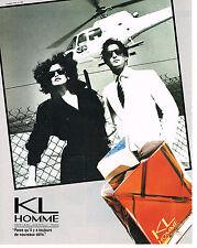 PUBLICITE ADVERTISING   1986   KARL LAGERFELD  parfum homme  KL