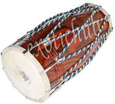 DHOLAK DRUM~ROPE+BOLT TUNED~SHEESHAM WOOD~USE IN BHAJAN~KIRTAN~HAND MADE INDIAN~