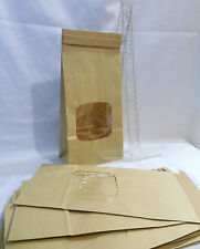 "25 Kraft Bakery Bags 4 3/4 x 2 1/2 x 9 1/2""  Square Window 1 lb Coffee Cookie"