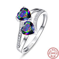 2.75CT Heart Cut Rainbow Topaz 100% 925 Sterling Silver Ring Size L½ N½ P½ R½