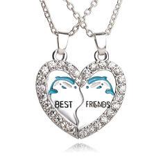 NEW BEST FRIEND Dolphin Heart Silver Tone 2 Pendants 2 Necklace BFF Friendship