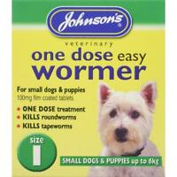 Johnsons Wormer Dog Worming Tablets Size 1 Small Dogs Roundworm Tapeworm To 6kg