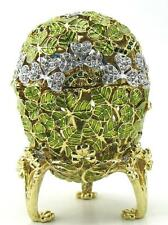 Green Easter Egg Trinket Box w/ Birds Inside & Swarovski Crystals by Keren Kopal