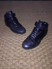 Gucci Men's Shoe Midnight Blue Nappa Silk Leather High Top Sneaker mens 10.5 US