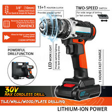 """3/8"""" 30V 2 Speed Cordless Electric Drill Screw Driver W/ Li-Ion Battery & Charge"""