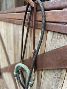 Western Leather Bosal bridle with Black Mecate reins