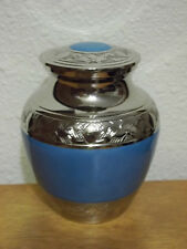 "Smaller Blue Enamel on Plated Nickel Solid Brass Urn~~4""~Infant~ up to 18Lbs"