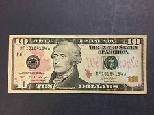 $10 Dollars Bill Series 2013 (Atlanta) Short Repeater Serial Number MF18184184A