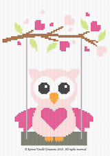 Crochet Patterns - OWL ON A SWING - Baby Girl Graph/Chart Afghan Pattern