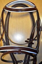 QUALITY  REAL LEATHER COMFORT BRIDLE WITH WHITE PADDING.3 SIZES BLACK/BROWN