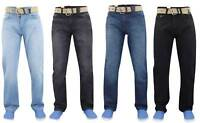 Mens Denim Jeans Straight Leg Basic Regular Fit Trousers Pants All Waist Sizes