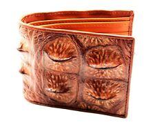 Brown Genuine Leather Crocodile Alligator Horn Back Skin Men' Bi-fold Wallet.