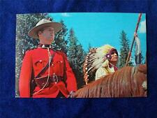 RCMP & INDIAN CHIEF POSTCARD ROYAL CANADIAN MOUNTED POLICE ON HORSE
