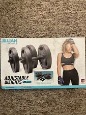 Jillian Michaels 20 Lb Pound Weights ADJUSTABLE VINYL DUMBBELL SET +Barbell