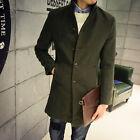Fashion Men's Wool Blend Single Breasted Long Trench Coat Long Jacket Outwear 88