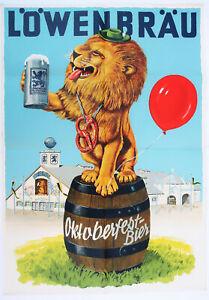 Löwenbräu Oktoberfest-Bier, Original Werbeplakat, Offset, München um 1955