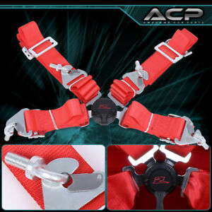 """Red 4 Point 2"""" Cam Center Lock Quick Release Nylon Seat Belt Harness Safety"""