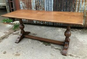 Vintage Jacobean Style Solid Oak Refectory Dining Table