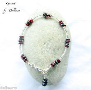 ✫ Granat ✫ Handarbeit Tief Rot Edelstein Fußkette Knöchel Kette Ankle Bracelet