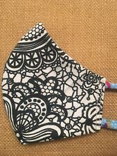 Handmade FACE MASK Tie Back REVERSIBLE Three Layer Cotton Paisley OOAK