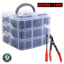 620Pcs Car Retainer Plastic Auto Fasteners Push Trim Clips Pin Rivet Bumper Kit