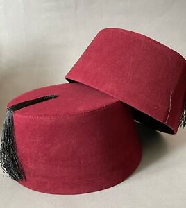 Genuine Burgundy Fez, Authentic Turkish Fes, Tarboosh Ottoman Hat, Tommy Cooper