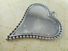 3 Silver Plated Dotted Heart Pendant Blank Trays Findings 43830