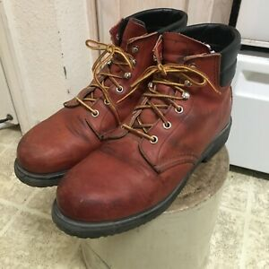 VINTAGE 80S RED WING SUPER SOLE BOOTS MADE IN USA 10 D GREAT CONDITION STEEL TOE