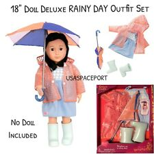 """18"""" Doll RAINY DAY Rain COAT+Umbrella+Boots Set for Our Generation American Girl"""