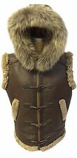 RAF B3 Real Shearling Real Leather Bomber Vest Removable Hood with Raccoon Fur