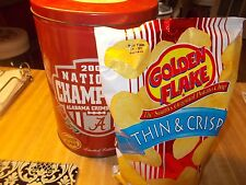 Alabama National Champions 2009 Golden Flake Chip Can & Chips W/Scrathed Lid