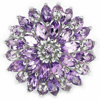 Ring Purple Amethyst Genuine Natural Sterling Silver Cluster Size R 1/2  US 9