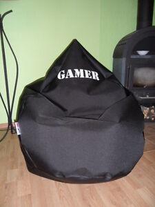Sitzsack 2XL von Lux 430 Lederoptik schwarz Gamer  Zocker für Leute über 1,80m