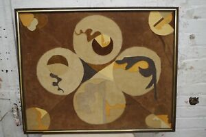 Vintage Suede Leather Geometric Abstract Modern Collage Framed Folk Art Canvas
