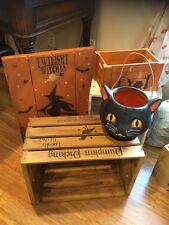 Primitive Vintage Style Lg Halloween Black Cat Milk Box Shop Tavern Wood OOAK