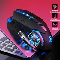 AM_ 2.4G Rechargeable Wireless 1600DPI Adjustable Backlit Gaming Mouse for PC La