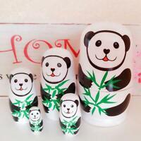 5pcs Cute Panda Wooden Matryoshka Nesting Dolls Russian Toys Gifts Home Decor