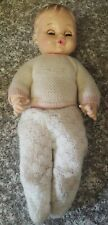 "Horseman  Doll 12"" Rubber Molded Hair Drink & Wet Baby w Clohes Vintage"