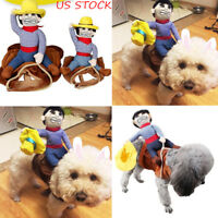 Funny Pet Cat Dog Cowboy Rider Coat Clothes Clothing Costume Cosplay Outfit S-XL