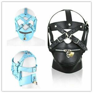 PU Leather Gimp Head Harness Headgear Riding Fancy Zipper Hooded Mask Lockable