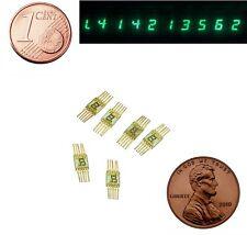 7 segment numeric LED display green digital. L104V / SEL620. Gold pin. Lot of 12